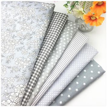 Gray Floral Printed 100% Cotton Fat Quarter Fabric for Home Textile Bedding Quilting Tissue Tecido to Patchwork Diy Sewing