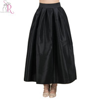 Black Maxi Pleated Skater Skirt A Line High Waist Casual Vintage Long Skirts 2016 Spring Women Clothing