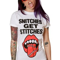 Women's Snitches Get Stitches Tee