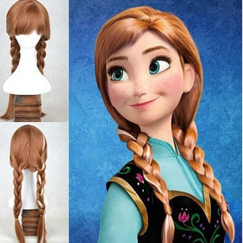 2016 HOT dropshipping wig popular cartoon girl Hair Wigs children Cosplay Wigs Elsa Anna princess white fluffy long hair