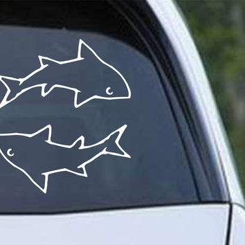 Shark (10) Die Cut Vinyl Decal Sticker set of 2