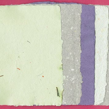 "Colored Handmade Paper, Deckle Edge, 5 Sheets, 5""x 7"", Green, Purple, Recycled, Scrapbook, Textured, Speckled"