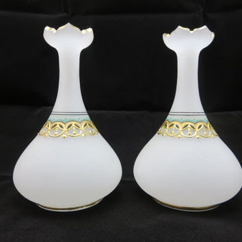 Bohemian Satin Glass Vases - Bristol Gold Enameled Persian Frosted