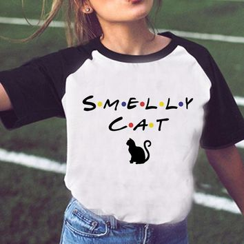 Friends Tv Shirt Cat Shirt Funny T-Shirt Women Tv Show Smelly Cat Printed T Shirt Summer Fashion Casual Girl And Female Top Tee