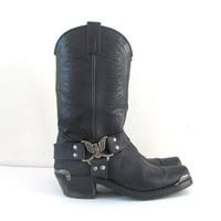 Vintage black leather motorcycle buckled harness ankle boots // men's 9 D