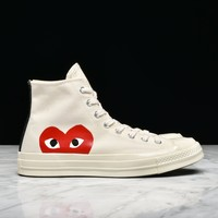 Best Sale CDG PLAY x CONVERSE CHUCK TAYLOR ALL STAR '70 HI - WHITE