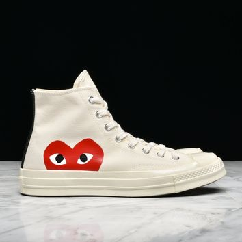 Best Sale CDG PLAY x CONVERSE CHUCK TAYLOR ALL STAR  70 HI - WHI 66b795c14d