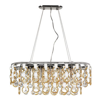 Trans Globe Lighting MDN-1174 CHMP Polished Chrome Champagne and Crystal Island Pendant with Clear Crystal Balls and Beads, Champagne Crystal Ringlets, White Inserts