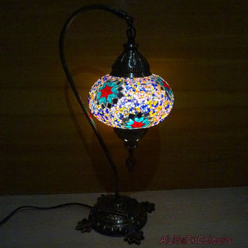Swan neck style Turkish handmade unique colourful glass mosaic table lamp, bedside lamp, bedroom night lamp, kid's room lamp, night light.