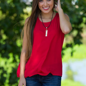 SALE-Everly-The Final Word Top-Tomato Red