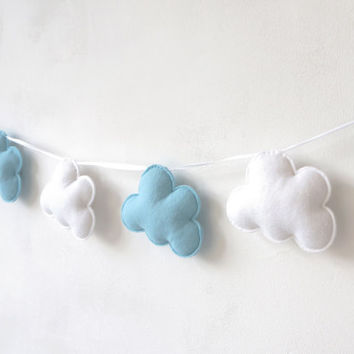 Cloud Garland, White and Blue Clouds, Cloud Banner, Cloud Bunting, nursery decor, photo prop, baby shower gift, new baby, baby boy
