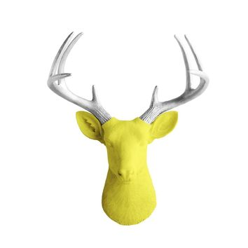 The Virginia | Large Deer Head | Faux Taxidermy | Yellow + Silver Antlers Resin