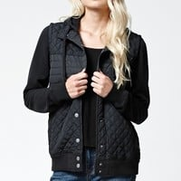 RVCA Regulate Quilted Button Up Hoodie - Womens Hoodie