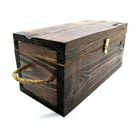Rustic wooden gift box with rope handles from independent