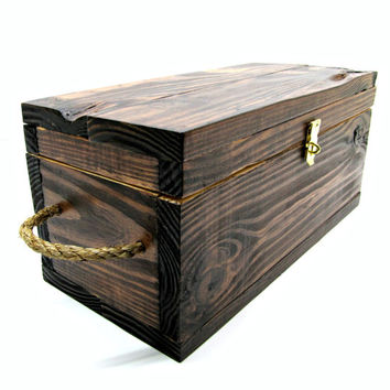 Rustic Wooden Gift Box with Rope Handles - Stained Medium Storage Box with Natural Interior