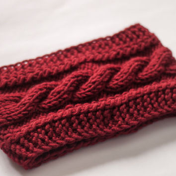 HandMade Knitting Headband, Ear Warmer, RED Cable headband, Fall Hair Band, Knit Fashion Accessory, Cozy, Customize Your Order