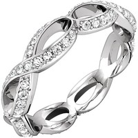 14kt White Gold 3/4 CTW Sculptural-Inspired Eternity Band