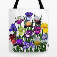 Iris Garden tote bag, flower, violet, blue, yellow, purple, bearded iris, german iris, floral nature photograph, all occasion gift