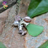 Mermaid Jewelry from Hawaii, Hawaiian Sea Glass Necklace for beach brides & island weddings