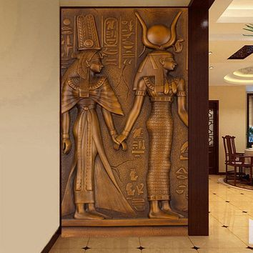 Cool European Style Vintage Egyptian King Queen Sculpture 3D Embossed Photo Mural Wallpaper Hotel Hall Living Room Entrance WallpaperAT_93_12
