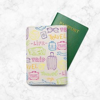 Trave Trip Luggage Pattern [ Name Customized ] Passport Holder - Leather Passport Cover - Vintage Passport Wallet - Travel Accessory Gift - Travel Wallet for Women and Men_LOKISHOP