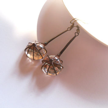 Contemporary jewelry, wire jewelry, beige glass lens, artistic earrings, copper wire jewelry, funky jewelry, Beige berry