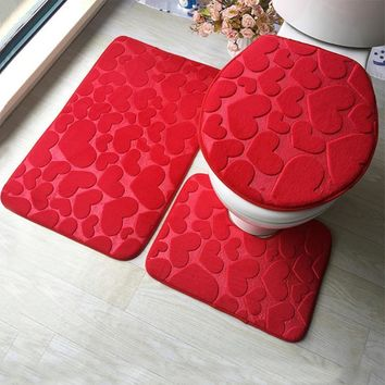 FarenHot 3Pcs Bathroom Mat Set. Floor Rugs And Toilet Seat Cover.