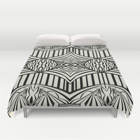 Geometric in Black and Beige Duvet Cover by House Of Jennifer