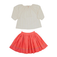 Ketiketa Girls' Coral Pin-Stripe Shirt and Skirt Set