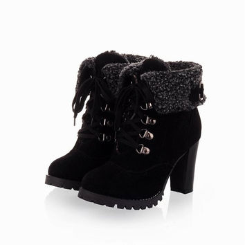 2015 Fashion Women Ankle Boots High Heels Lace up Platform Pumps Boots,women's shoes = 1946278852