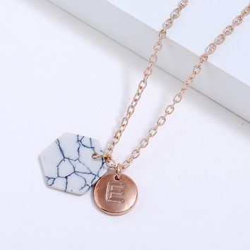 New Fashion Round Initial Two Pendant Initial Letter Necklace Personality Necklace Name Jewelry Friends Gift pulseira feminina