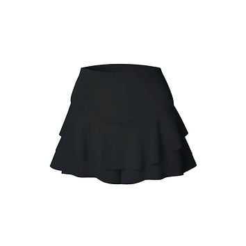 High On The List Black Flounce Elastic Waist Stretch Tier Pull On Skort Shorts - 4 Colors Available