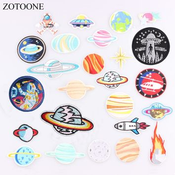 ZOTOONE 1PC Space Flight Embroidery Patch for Clothing Iron on Sew Applique Patch Fabric Badge Garment DIY Apparel Accessories C