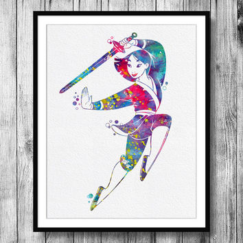 Instant Download Mulan Disney Princess Watercolor Art Digital Printable JPEG Fa Mulan Wall Art For Girls Art Wall Decor
