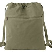 Pigment Dyed Canvas Cinch Sack Bag, Color: Khaki Green, Size: One Size