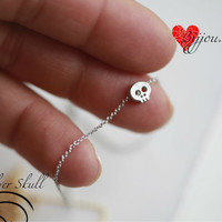 Tiny Silver  skull necklace -18''-SILVER- Small skull necklace - SILVER ---18'' ONLY