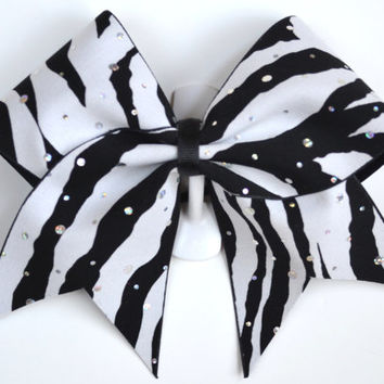 "3"" Wide Luxury Cheer Bow - Zebra Sparkle"
