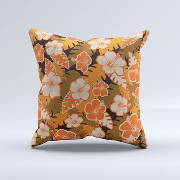 Orange & Black Hawaiian Floral Pattern V4 Ink-Fuzed Decorative Throw Pillow