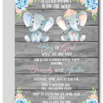 Elephant Gender Reveal Invitations