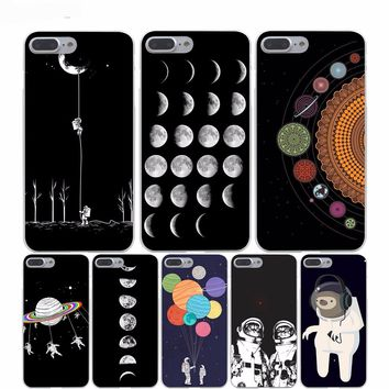 Space Moon Astronaut Hard Transparent iPhone Case for iPhone 7, 7 Plus, 8, 8 Plus, X