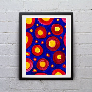 Sun Abstract painting Wall decor Blue red yellow geometric circle acrylic folk art print large small livingroom decal contemporary art gift