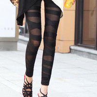 Black Mesh Insert Bandage Leggings
