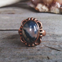 Vintage Brass & Fluorite Ring