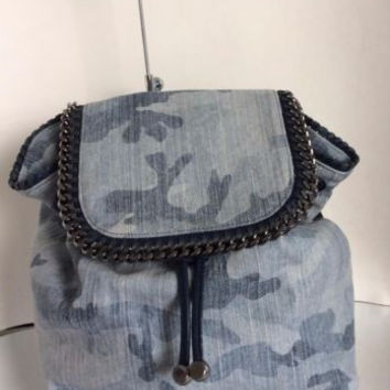 NEW STELLA MCCARTNEY Pale Blue Falabella Camo Canvas Backpack - MSRP $1,495.00!