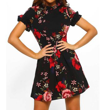 Vintage Women Casual Dresses 2019 New Fashion Summer Mini Dresses Chinese Style Floral Printed Short Sleeve Party Retro Sundress