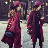 Long Knit Cardigan V-neck Split Loose Sweater