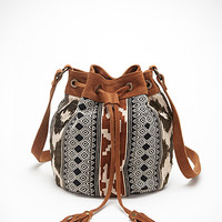 Southwestern-Patterned Bucket Bag
