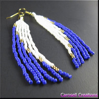 Native American Beadwork Long Seed Bead Earrings Blue White and Gold