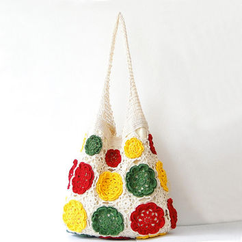 Sunflower design lace crochet bag, crochet summer bag, beach bags, tribal, hobo bag
