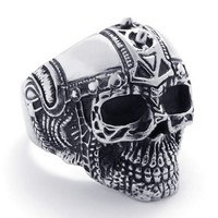 KONOV Jewelry Mens Biker Stainless Steel Skull BIG Heavy Biker Ring, Silver Black